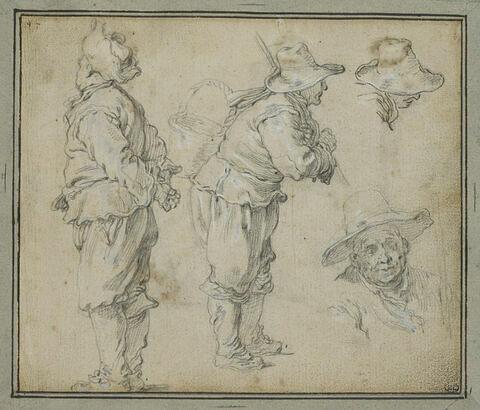 Etudes de deux hommes debout, et de deux têtes masculines