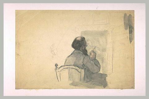 Peintre assis à son chevalet, peignant