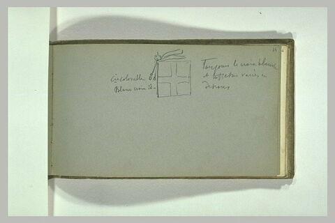 Croquis de drapeau de régiment ; annotations manuscrites