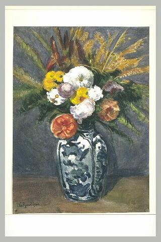 Bouquet de fleurs, dans un vase bleu et blanc