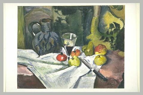 Fruits, pot bleu et verre