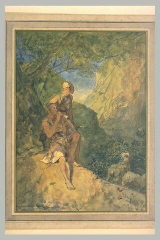 Deux bergers arabes à l'ombre d'un arbre, dans une gorge rocheuse
