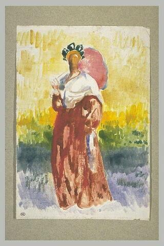 Femme debout, de face, en costume régional avec une ombrelle