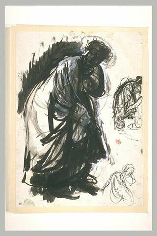 Vieille femme drapée penchée en avant, deux reprises de la même figure...