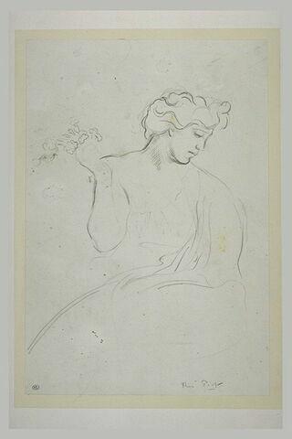 Femme assise de face, la tête tournée vers la gauche, le bras droit plié...