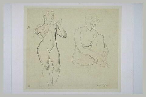 Deux études de femmes nues, l'une debout de face les avant-bras levés,...