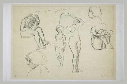 Feuille comportant six croquis de femmes ; à gauche femme nue, assise...