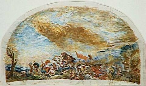 Attila suivi de ses hordes barbares foule aux pieds de son cheval, l'Italie