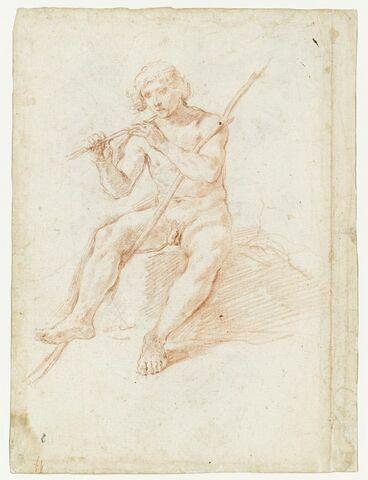 Homme nu, assis, tenant une flûte : Mercure