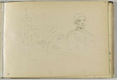 Portrait de femme, vue à mi-corps ; fleurs et ajoncs