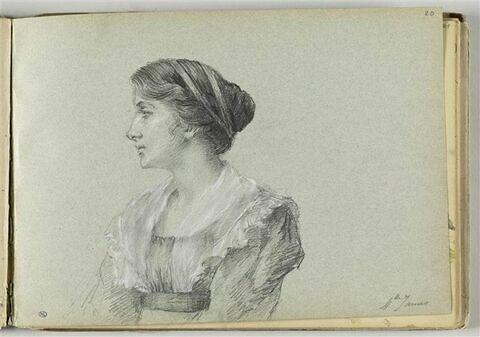 Portrait de femme vue à mi-corps, de profil vers la gauche