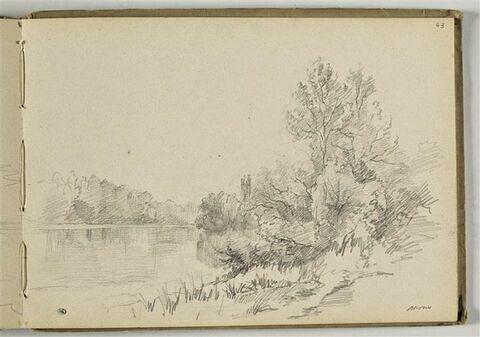 Paysage avec un  étang