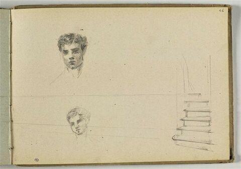 Deux têtes d'homme ; escalier d'après une étude de perspective