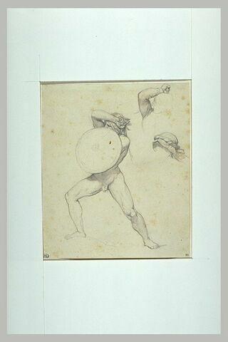 Etude d'un homme nu, se protégeant de son bouclier