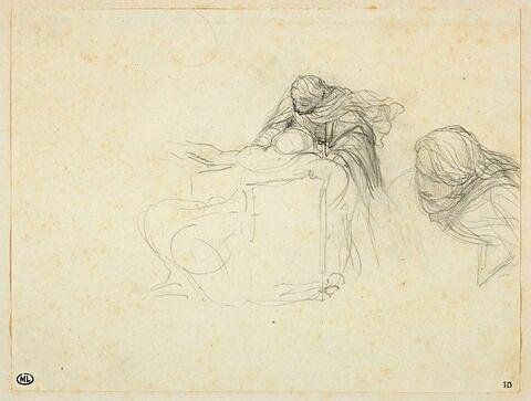 Femme voilée, penchée sur une figure renversée sur une chaise