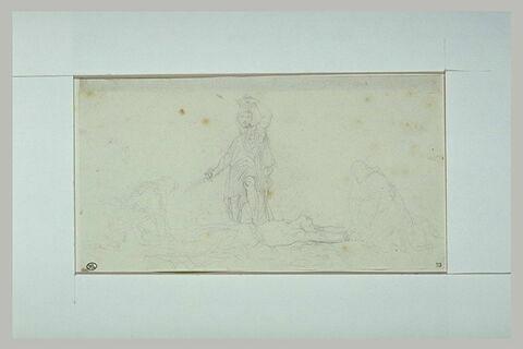 Homme se couronnant, le pied posé sur le cadavre de son ennemi