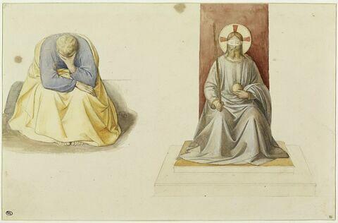 Etude pour une figure assise se cachant le visage dans la main et un Christ assis sur un trône