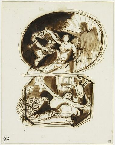 Etude allégorique d'une femme étendue à demi nue entourée d'anges