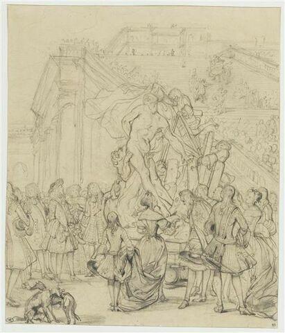 Etude pour 'Puget présentant son 'Milon de Crotone' au roi Louis XIV'