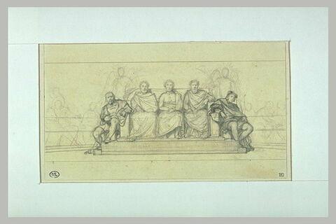 Etude du groupe d'Ictinus, Apelles, Phidias, pour l'Hémicycle des Beaux-Arts
