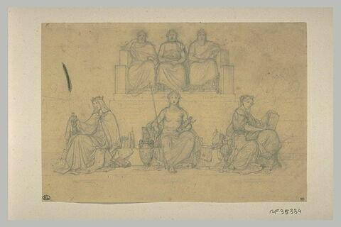 Etude de trois hommes drapés assis sur un trône et de trois figures