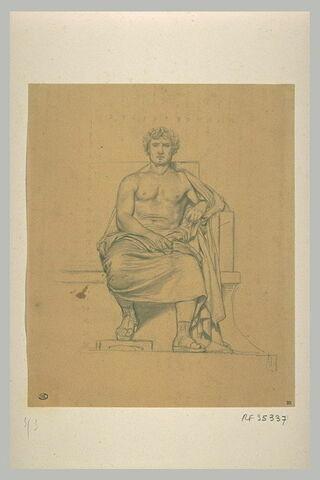 Etude d'un homme assis, drapé