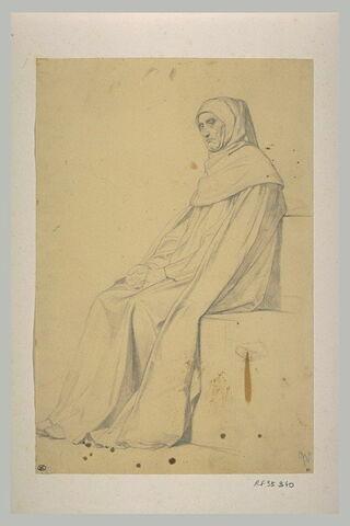 Etude de moine encajuchonné, assis de trois quarts à gauche