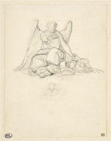 Figure de femme ailée, assise, de face, et offrant une couronne
