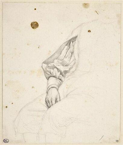 Etude d'une main posée sur une jambe