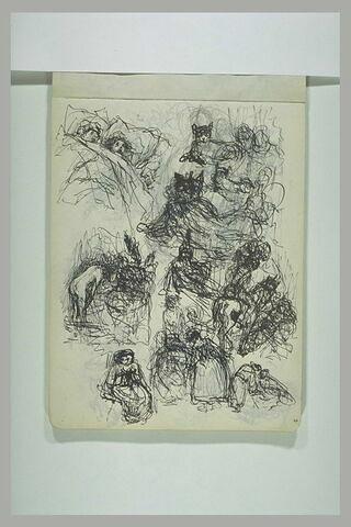 Figures dans un lit, chats, cavalier, femme à sa toilette et divers croquis