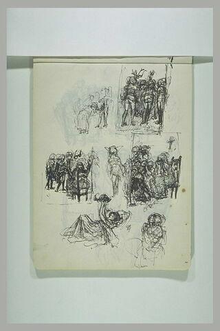 Groupes de figures devant une femme assise ; figure jouant avec un animal
