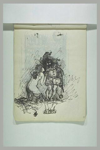 Femme nue, agenouillée, parlant à l'oreille d'un gnomme au chapeau de lutin