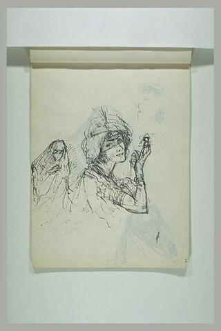 Etude de figures en costumes orientaux dont l'une tient un bijou étoilé