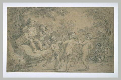 Trois enfants dansant au son d'un violon, d'une flûte et d'un tambourin...