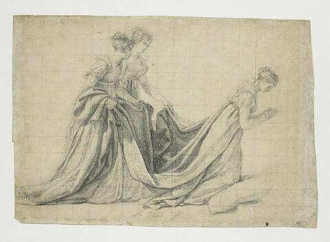 L'Impératrice à genoux, avec Mme de La Rochefoucauld et Mme de La Valette