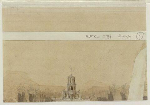 Croquis de paysage avec tour d'église, et arbres