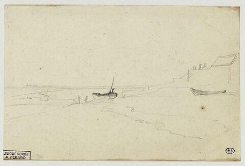 Paysage de bord de mer avec quelques embarcations échouées