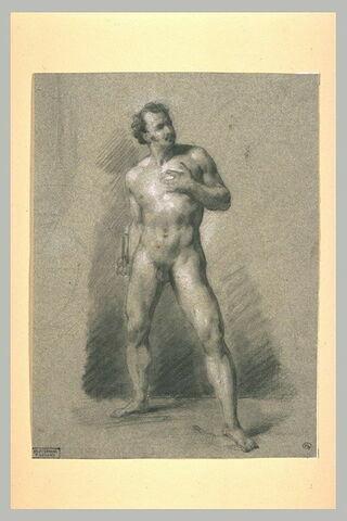 Académie d'homme, de face, la main gauche sur la poitrine