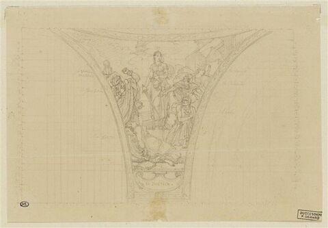 Etude pour un écoinçon du Panthéon : 'la Justice'