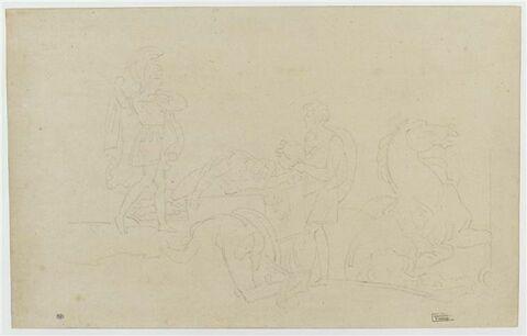 Achille ramenant sur son char le corps de Patrocle