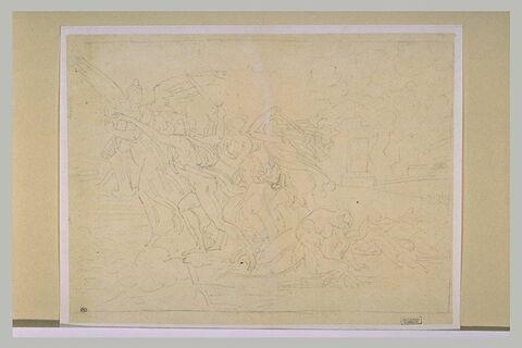 Scène antique avec des guerriers : la Guerre de Troie (?)