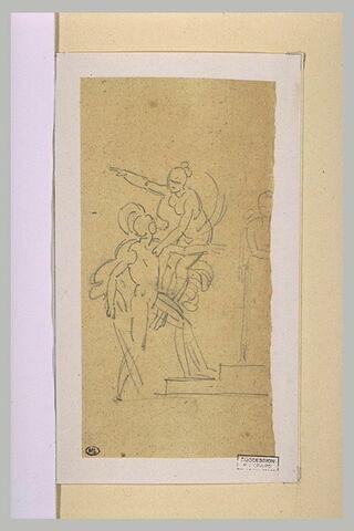 Guerrier tourné vers une figure fémine volante au bras tendu