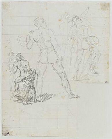 Etudes d'hommes pour Achille jurant de venger Patrocle