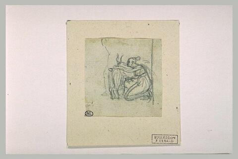 Figure féminine agenouillée près d'une chèvre