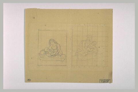 Deux études d'une femme posant un enfant sur un lit