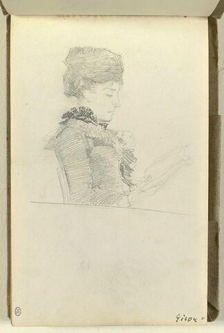 Femme, en buste, de profil à droite, lisant