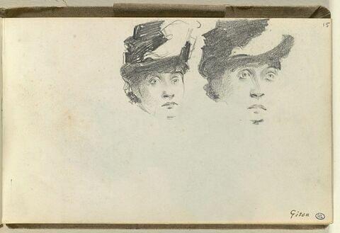 Deux esquisses de tête de femme