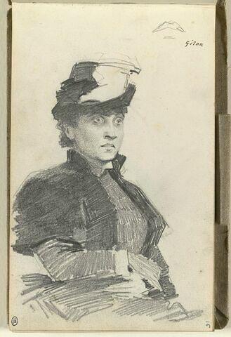 Jeune femme, en buste, coiffée d'un chapeau