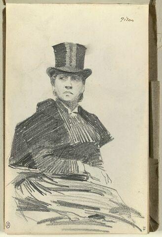 Femme à mi-corps, coiffée d'un chapeau haut-de-forme