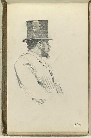 Portrait d'homme, en buste, coiffé d'un chapeau
